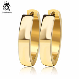 Wholesale Unique Rocks - ORSA JEWELS Brand Unique Fashion Punk Rock Silver Color Gold-Color Small Circle Hoop Earrings for Women Jewelry GTE16