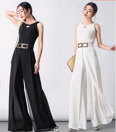 Wholesale Sexy Harem - New Summer Style Women Fashion Lace-Up Chiffon Long Jumpsuits Ladies Sexy Sleeveless Harem Pants Girls Casual U-ultra-wide-leg Trousers