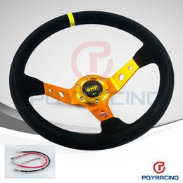Wholesale Drift Wheel - PQY STORE- GOLD Steering wheel ID=14inch 350mm OMP Deep Corn Drifting Steering Wheel   Suede Leather Steering wheels PQY-SW21B