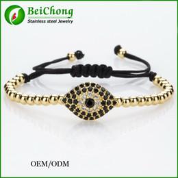 Wholesale Wholesale Cubic Zirconia Connectors - (10pcs) BC Anil Arjandas Fashion Men Black Bracelet,Pave Setting Black CZ Evil Eye Connector & 4mm Round Bead Braiding Men Macrame Bracelet