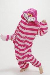 Wholesale Cheshire Cat Onesie Pajamas - Fashion Adult Pajamas Anime Halloween Cosplay Cheshire Cat Red and white stripes Unisex Party Pyjamas Costume Cosplay Onesie