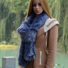 Wholesale Blue Fur Scarf - Women Winter New Fur Furry Faux Fox Fur Warm Long Scarf Collar Shawl Cap Scarves