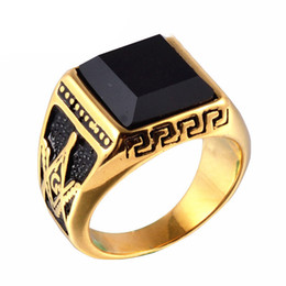 Wholesale Onyx Stones Jewelry - Men Punk Titanium Steel Ring Vintage Jewelry Carved Geometric Hipsters Onyx Stones Masonic Accessories Gold Size 8-11