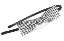 Wholesale Hair Tie Jewelry - Women Bow Tie Headband with Rhinestone Crystal Hair Accessories Hair Jewelry New Fashion Handmade High Quality Hairband for Wholesale