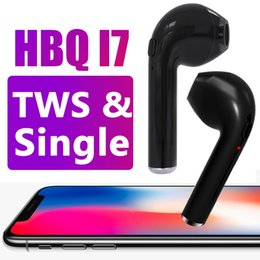 Wholesale Invisible Wireless Headset - HBQ i7 Twins TWS Wireless Bluetooth Earphones For Iphone X Invisible Earbuds V4.2 Stereo Music Headset Phone Earpiece With Retail Package