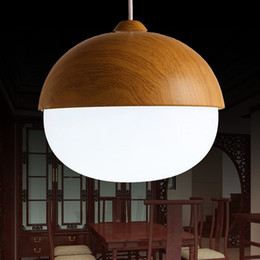 Wholesale Light Shade Materials - Modern Chandeliers With The White Ring Frosted Glass Lamp Shades And Wood Material Bar Kitchen Indoor Light Fixtures
