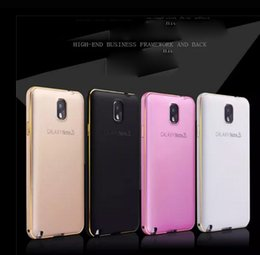 Wholesale Note2 Bumper - luxury hybrid Aluminum metal bumper frame with PC combo 2 in1 case cover skin shell for Samsung Galaxy Note2 Note3 Note4 fashion case