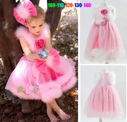 Wholesale Store Dresses Girls Wedding - in store Pink Baby Girl Party Princess Dresses cute girls wedding Dress Lace flower and bow design for kids princess dress free shipping