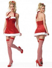 Wholesale Christmas Sexy Suit - New Christmas Costume women Cute elf suits Cosplay Dress uniform sexy halter bow Adult Club wear
