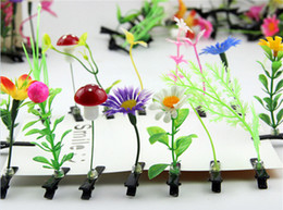 Wholesale Antenna Clips - New Novelty Plants Grass Fruit Hair Clips Headwear Small Bud Antenna Hairpins Lucky Grass Bean Sprout Mushroom Party Barrettes 100Pcs lot