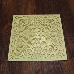 Wholesale anniversary invitation cards - Gold invitation card flower laser cutting invites for weeding valentine's day marriage anniversary wedding card maker supply