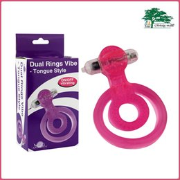 Wholesale Dual Cock Ring - Aphrodisia Jelly Vibrating Cock Ring Penis Rings Clit Vibrator Tongue Style Dual Rings Vibrating Sex Toys For Couples