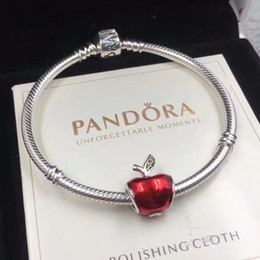 Wholesale Apple European - Pandora bracelets with apple Christmas sale sterling silver 925 bracelets full package gifts for Thanksgiving Valentines Day