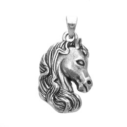 Wholesale Head Horses - 5pcs lot Zinc Alloy Antique Silver Plated Lucky Horse Head Animal Charm Pendant can DIY Necklace or Bracelet Jewelry