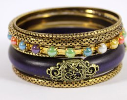Wholesale Wooden Bangles Jewelry Wholesale - Wholesale-Fashion Women Jewelry Indian Style Antique Gold Plated Purple Wooden Hot Sell Vintage Bangles Bracelets Set Jewelry Gift Sale