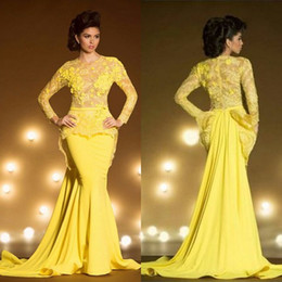 Wholesale Formal Dress Transparent Sleeves - Fashion Lace Formal Evening Dresses With Long Sleeves Mermaid Appliqued Sheer Jewel Neck Peplum Prom Dress Yellow Transparent Evening Gowns