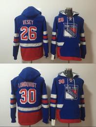 Guardabosques de nueva york online-Hombres New York Rangers sudaderas Hockey Jersey 26 Jimmy Vesey 30 Henrik Lundqvist sudaderas chaqueta de invierno envío gratuito