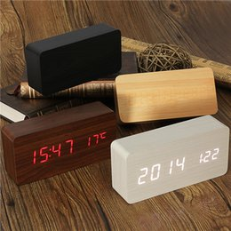 Wholesale Led Display Show - Free Shipping Acoustic Control Sensing Wood Clock Dual LED display Bamboo Clock LED Digital alarm clock Led Show Temp Time Voice Control