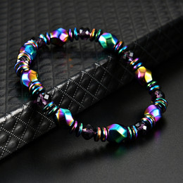 Wholesale Rainbow Bracelets Wholesale - New Rainbow Magnetic Hematite Bracelet for Men Women Power Healthy Bracelets Wristband Fashion Jewelry Gift 162545