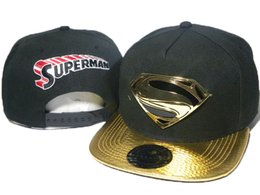 Superman chapéu preto on-line-Ajustável moda preto superman ouro borda dos desenhos animados snapback chapéus bonés de beisebol bboy hip-hop chapéus para homens mulheres snapbacks tampas DDMY