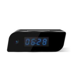 Wholesale Wireless Spy Hidden Cameras Clock - Hidden Camera Wireless IP Security Camera Alarm Clock 1080P HD Live Stream Video with Motion Detection Alarm, Spy Camera, Black