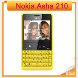 Wholesale Keyboard Cell Phone White - 210 Nokia Unlocked Original Asha 210 Mobile Phone Daul SIM Card 2mp camera keyboard WiFi GSM cell phones Free shipping