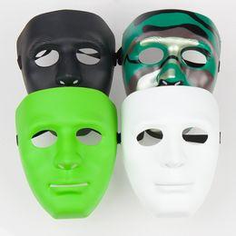 Wholesale Plain White Masquerade Masks - Halloween face mask white mask jabbawockeez mask hiphop jabbawockeez mask white hip hop plain masquerade masks white black blue green #001