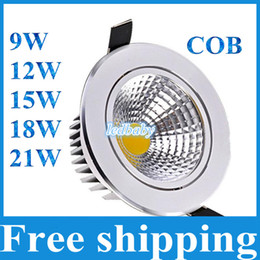 Wholesale Downlights Cob Dimmable - COB Led Downlights 9W 12W 15W 18W 21W Dimmable Non-Dimmable Home lighting Warm Cool White LED Ceiling lights AC85-265V With Power Drivers