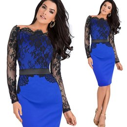 Wholesale Colorblock Long Sleeve Dresses - Women Elegant Pinup Vintage Retro Lace Off Shoulder Patchwork Belted Stretch Colorblock Bodycon Party Fitted Dress