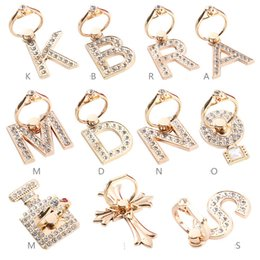 Wholesale Diamond Ring Buckles - Diamond ring buckle metal letters Sticking anti dropping and falling prevention Cell Phone Mounts Square lazy Holders