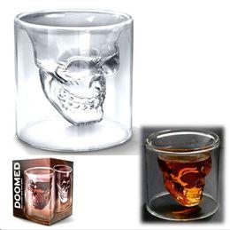 Wholesale Doomed Crystal Skull Head - 2pcs Double Layers Novelty Cup Doomed Crystal Skull Shot Glass Crystal Skull Head Vodka Shot Wine Glass Mugs retail box,Free china post