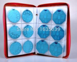 Wholesale Stamps Albums - Wholesale-High quality 240slots Nail Stamp Plate Synthetic Leather Folder Holders Cases Nail template album,round plate case,sorting bag