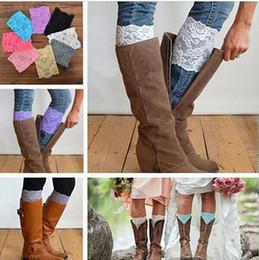 Wholesale Lace Trim Ankle Socks - 13 colors Women's Fashion Flower Stretch Lace Boot Cuffs Women GIRLS LEG WARMERS Trim Flower Design Boot Socks Knee