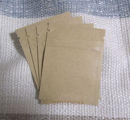 300 unids / lote- 6x8 cm tamaño mini Cremallera sellado superior Bolsa de papel Kraft con papel de aluminio recubierto interior Polvo de café en grano bolsas de embalaje desde fabricantes