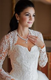 Wholesale Elegant Wedding Bolero - Elegant Sheer Long Sleeve Lace Appliques Wedding Jacket Vintage Wedding Bolero Bridal Jacket Bridal Wraps 2016 New Bridal Accessories