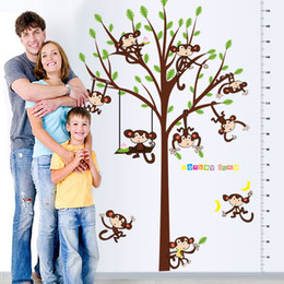 Wholesale Nature Can Animal - Monkey Tree Height Affixed To The Children's Room Kindergarten Decorative Wall Stickers Double Pvc Can Be Removed Wholesale Freeshipping