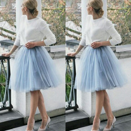 ladies tutus Promo Codes - 2015 Short Skirts Light Blue Skirt Free Size Custom Made 3 Layers Knee Length Tulle Women Party Skirts Tutu Gauze Women Lady Daily Clothing