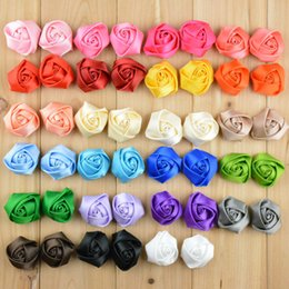 baby brooch flower Promo Codes - Ribbon 3D Rose Bud Flower Fit DIY KIDS Headband Hairclips Shoes Brooch Ornament Baby Girl Clothing Hair Accessories