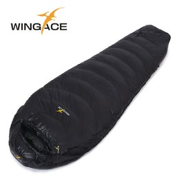 Wholesale Mummy Sleeping Bag Duck Down - Wholesale-Fill 600G WINGACE ultralight duck down camping sleeping bag outdoor daunenschlafsack mummy fall Travel sleep adult sleeping bags