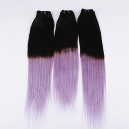 Wholesale Purple Human Hair - Two Tone 1B Purple Ombre Straight Hair 3 Bundles Black to Violet Ombre Human Hair Weaves 3Pcs Lot 8A Grade
