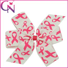 "Wholesale New Ribbon Grosgrain Printed - 15 Pcs lot 6"" New Design Breast Cancer Awareness Pinwheel Hair Bows for Women Grosgrain Ribbon Bows High Quality Headwear Hair Clip"