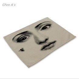bowl plates Promo Codes - Wholesale- CFen A's Retro Fornasetti Artical Dinner table Cotton Printing Placemat Setting placemats table bowl plate pad coasters mat 1pc