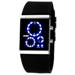 Wholesale Waterproof Led Table - New Arrival Fashion Gift Lovers Table Electronic watch men&women waterproof led watch valentine's day gift skmei 0984