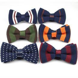 2019 bowtie lavorato a maglia All'ingrosso- Uomini Neck Ties Tuxedo Knitted Bowtie Bow Tie Thick Double Deck Pre Tied Maglieria regolabile Casual Ties bowtie lavorato a maglia economici