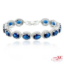 Wholesale 14kt Gold Bracelets - Wholesale-Fashion pulseiras femininas 14KT White Gold Filled Bracelet Blue Sapphire AAA Zircon Bracelets for Women Fine Jewelry BR0006