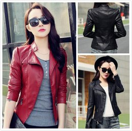 Wholesale Pu Leather Jackets Women - 2016 Fashion Red Black Lapel Neck Long Sleeve Leather Jacket top PU Women causal jackets Coats Size M L XL