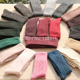 Wholesale Woollen Knees - Wholesale-Women's Girl's Knit Winter Thicken Warm Woollen Over Knee High Socks Jacquard