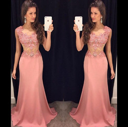 Wholesale Cheap Beautiful Long Sleeve Dress - Cheap Pink Prom Dresses 2015 Beautiful Aline Bateau Hand-beaded Lace Applique Cap Short Sleeves Zipper Back Long Formal Dresses Evening Wear