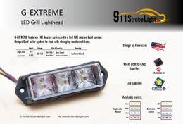 Wholesale Vehicle Led Strobe Lights - G-Extreme Vehicle LED Strobe Warning Light, 3w LED, Slave Surface Mount Lighthead, 12-24V Dual-color system, 180° light visible warning.