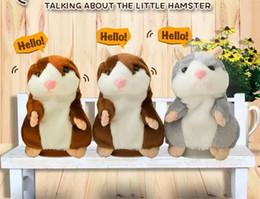 2019 led produits en plastique 15CM Belle Parler Hamster En Peluche Jouet Mignon Parler Parler Record Sonore Hamster Parler Jouets pour Enfants vente TO336